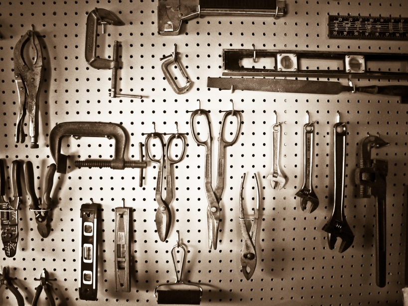 workshop tools pegboard